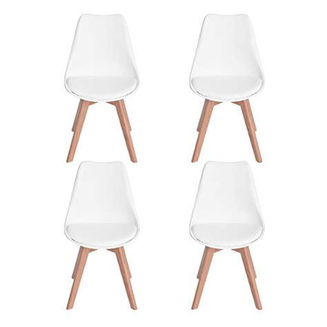 chaise de cuisine en cuir blanc lot de 4 chaises de cuisine en bois eggree tm rétro faux
