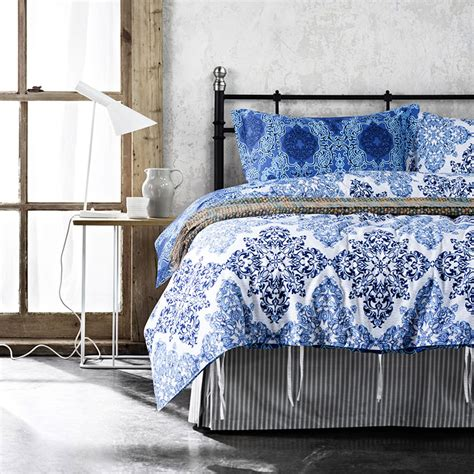 Trendy Blue And White Cotton Bedding Set Ebeddingsets