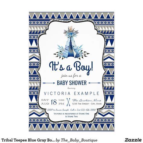 Tribal Teepee Blue Gray Boys Boho Baby Shower Invitation