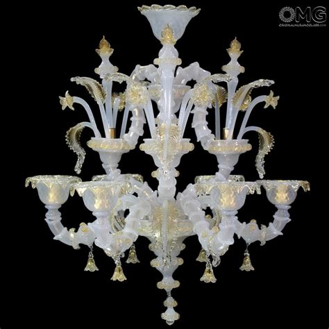 chandelier seguso white rezzonico murano glass  lights
