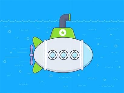 Submarine Animated Illustration Competitor Dribbble Gifer Mention