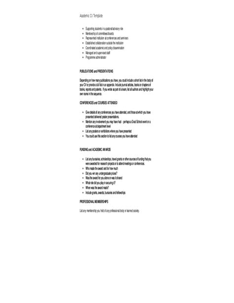 Detailed Cv Template by Detailed Academic Cv Template Free