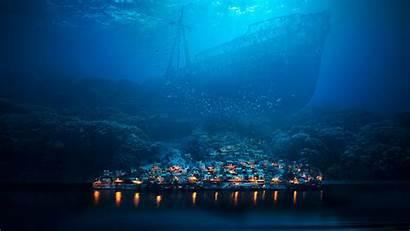 Underwater Sea Fantasy Ship Shipwreck Town Night