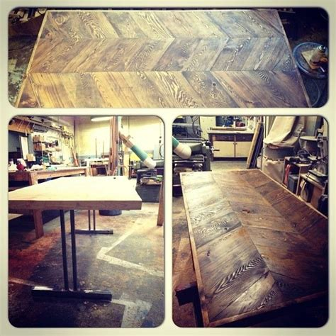 chevron kitchen table crafted reclaimed chevron kitchen table by