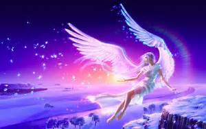 Angel Blonde Girl Anime Wings Flying Winter Snow HD ...