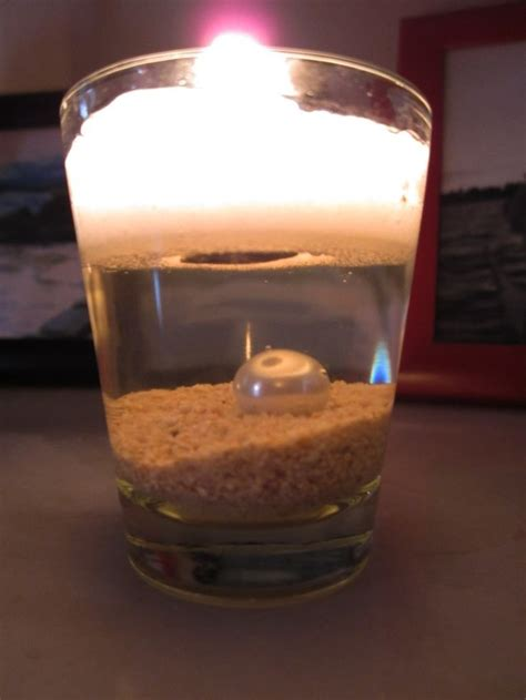 shot glass synthetic sand pearl water tea light candle