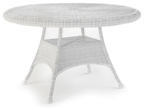 white round outdoor table rockport 48 in round patio dining table white wicker
