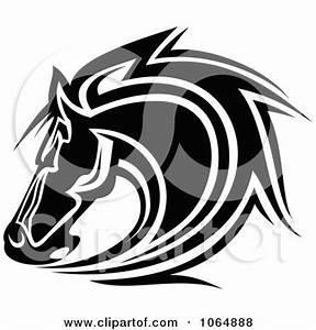 Clipart Horse Head Logo In Black And White 8 - Royalty ...