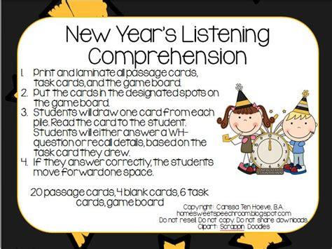 New Year's Listening Comprehension *freebie*  Speechlanguage Therapy Blog Posts Pinterest