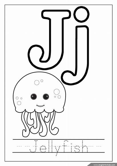 Coloring Letter Alphabet Printable Letters Worksheets Jellyfish