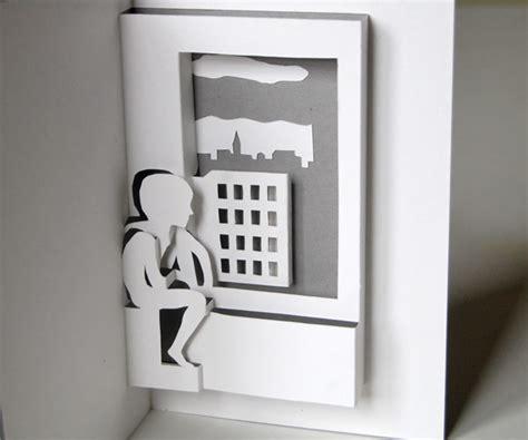 boy sitting  window pop  card printable template