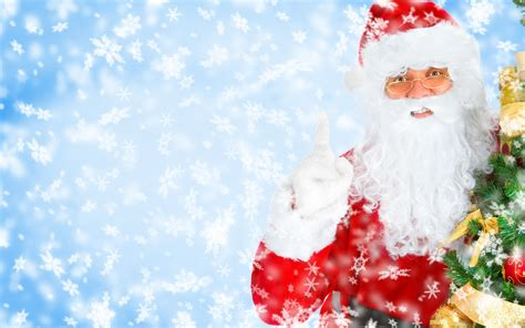 Santa Claus - background full with snowflakes