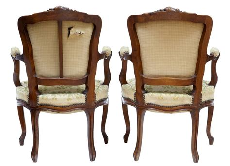 Pair Of 19th Century French Fauteuil Walnut Armchairs For