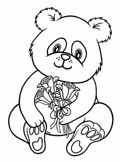 Panda Coloring Bear Pages
