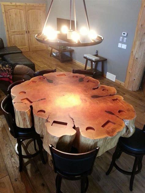 custom slab poker log table  pioneer log homes  bc