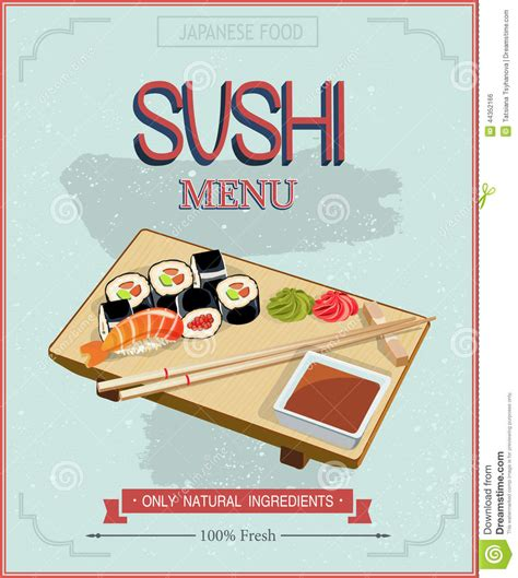 japanese cuisine restaurant sushi menu cover template in