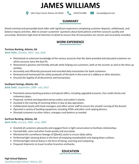 bank teller resume sle website resume cover letter