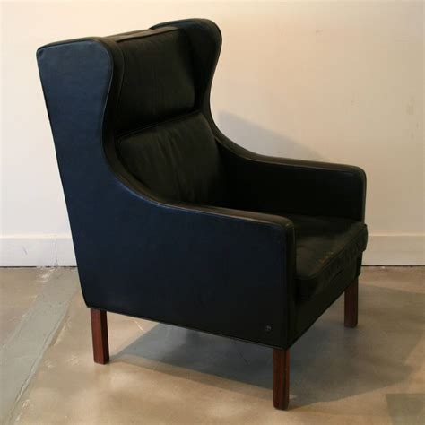 vintage black leather wingback chair at 1stdibs