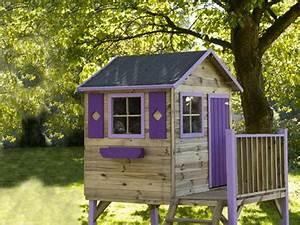 cabane en bois sur pilotis porte fenetre violet With conseil pour peindre un mur 18 cabane de jardin en palette bois pour enfant