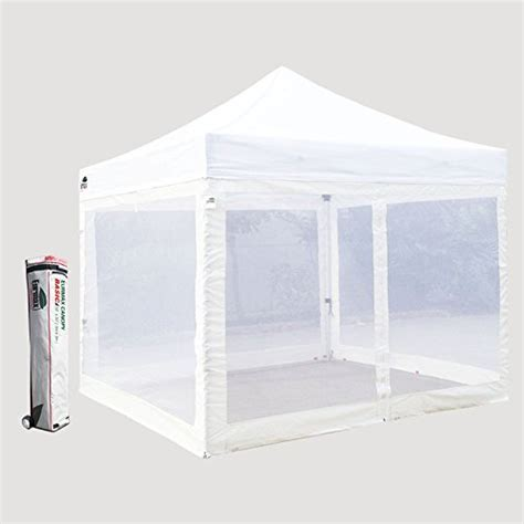 basic    ez pop  canopy mesh party tent   screen side walls  roller bag white