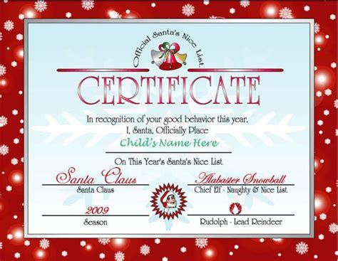 printable letter  santa  nice list certificate