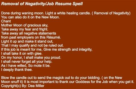 How Do You Spell Resume by Removal Of Negativity Resume Spell Done During Waning