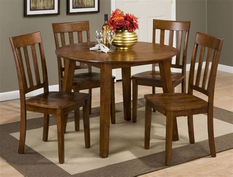 simplicity caramel extendable round drop leaf dining room