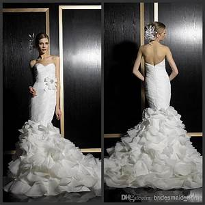2014 spring mermaid white wedding dresses organza With wedding dress with ruffles on bottom