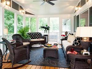 Relaxing, Eclectic Sunroom Shelley Rodner HGTV