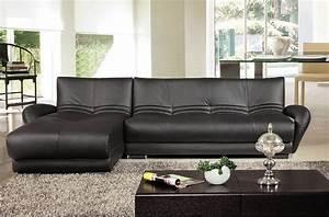 canape d39angle en cuir italien 5 places montparnasse noir With canape angle cuir italien