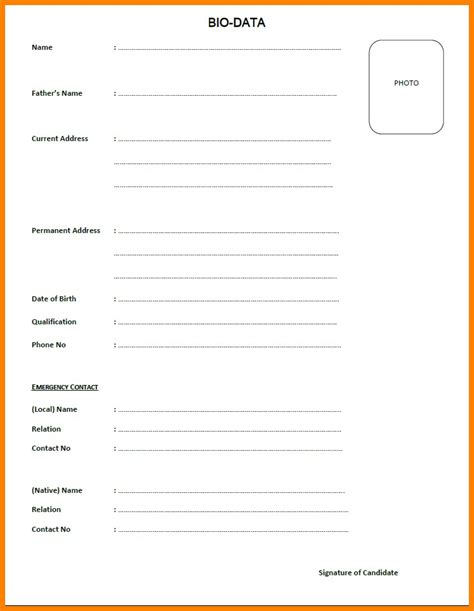 Format Of Biodata Pdf by Biodata Blank Format