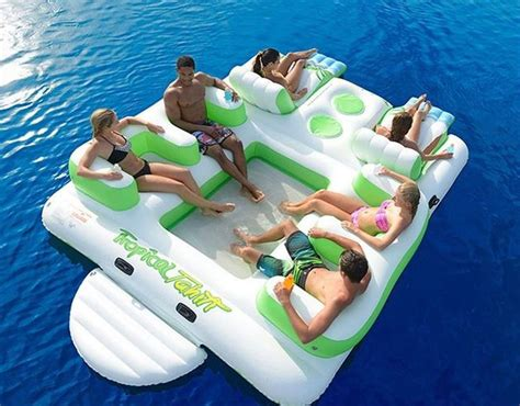 floating island 6 person inflatable lounge raft pool lake