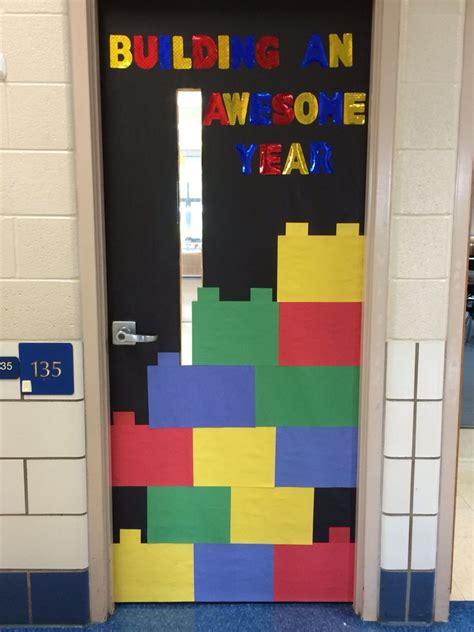 lego theme classroom door bulletin boards school doors