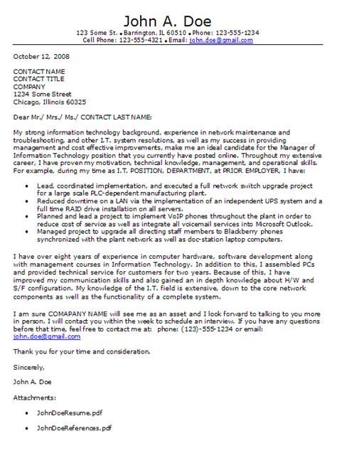 information technology cover letter format career rush blog