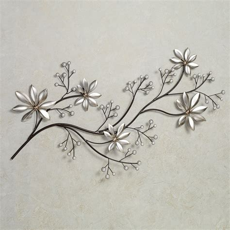 metal wall decor pearl array floral metal wall