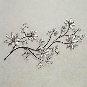 Pearl array floral metal wall art for Floral wall art
