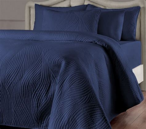 Navy Blue Quilted Coverlet navy blue quilt set size 3 pc quilted
