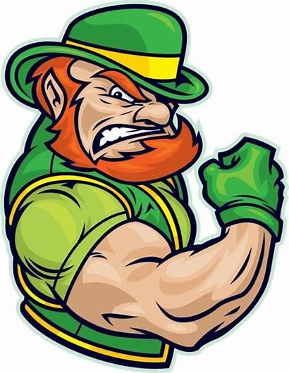 Leprechaun Clipart Vector Irish Fighting Flexing Muscles