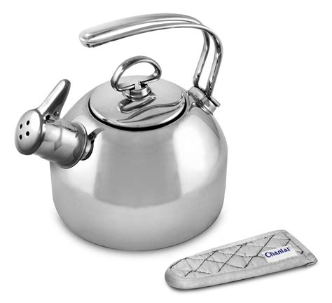 chantal polished stainless steel classic tea kettle  quart cutlery