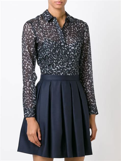burberry blouse burberry dotted print blouse in gray lyst