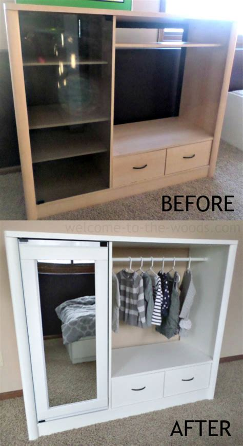 Entertainment Center To Closet Makeover   Welcome to the Woods