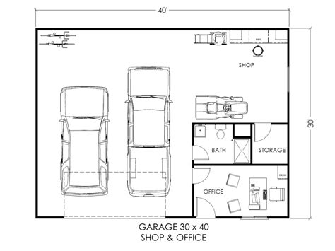 garage floor plans free garage w office and workspace true built home