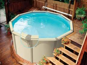 Above Ground Pool Steps Wood by Outdoor Above Ground Pools Designs With Wooden Stairs