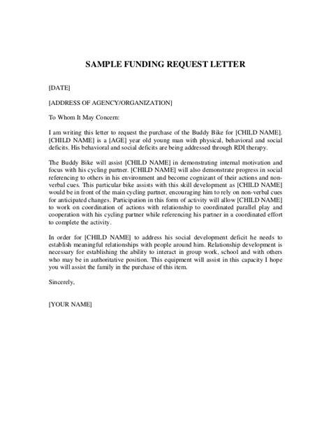 funding letter sample