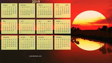 January 2019 Calendar Wallpapers