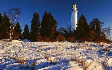 hd lake michigan lighthouse  winter wallpaper