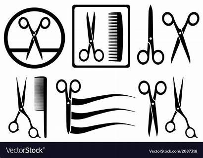 Salon Scissors Hair Vector Comb Icons Sign