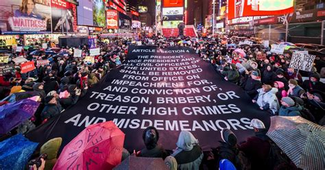 impeachment vote protests york rally trump country across banner articles vox still cities rallies movement