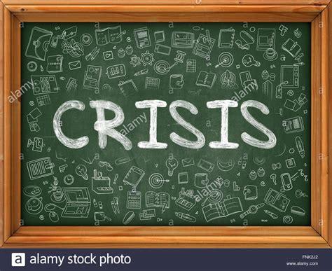weiße tafel mit a krisenkonzept gr 252 nen tafel mit doodle symbole stockfoto bild 99378778 alamy