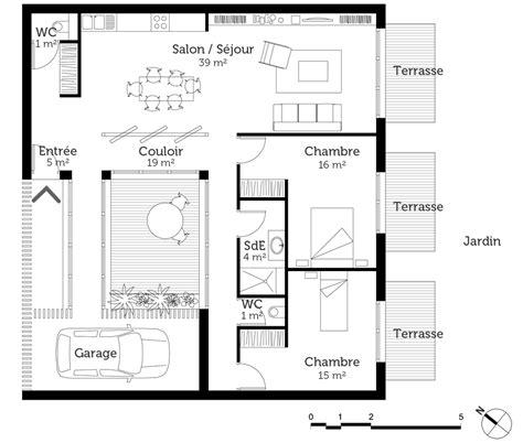 plan maison mitoyenne de plain pied ooreka
